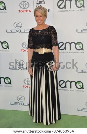 LOS ANGELES, CA - OCTOBER 24, 2015: Simpson's voice actress Yeardley Smith at the 25th Annual Environmental Media Awards at Warner Bros. Studios, Burbank, CA.  - stock photo