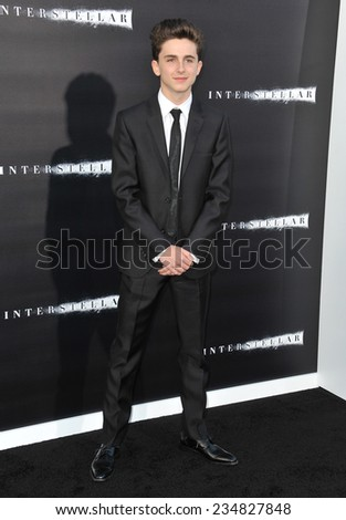 LOS ANGELES, CA - OCTOBER 26, 2014: Timothee Chalamet at the Los Angeles premiere of his movie Interstellar at the TCL Chinese Theatre, Hollywood.  - stock photo