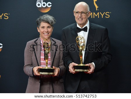 LOS ANGELES, CA. September 18, 2016: Actor Jeffrey Tambor & producer Jill Soloway at the 68th Primetime Emmy Awards at the Microsoft Theatre L.A. Live.