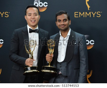 LOS ANGELES, CA. September 18, 2016: Actors Aziz Ansari & Alan Yang at the 68th Primetime Emmy Awards at the Microsoft Theatre L.A. Live.