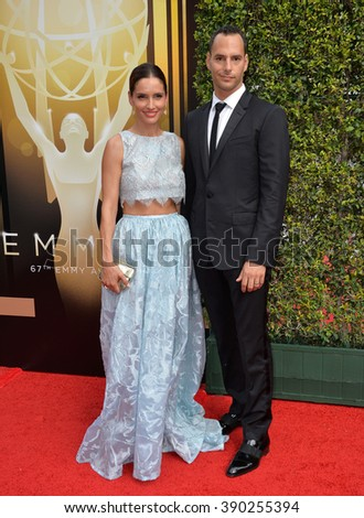 LOS ANGELES, CA - SEPTEMBER 12, 2015: Actress Leonor Varela & husband Lucas Akoskin at the Creative Arts Emmy Awards 2015 at the Microsoft Theatre LA Live.