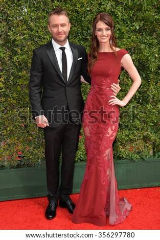 LOS ANGELES, CA - SEPTEMBER 12, 2015: Actress Lydia Hearst & presenter Chris Hardwick at the Creative Arts Emmy Awards 2015 at the Microsoft Theatre LA Live.  - stock photo