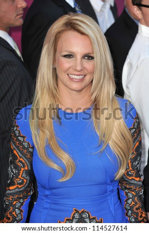 """LOS ANGELES, CA - SEPTEMBER 11, 2012: Britney Spears at the season two premiere of """"X Factor USA"""". She had her handprints set in cement at Grauman's Chinese Theatre - stock photo"""