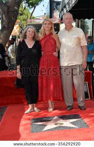 LOS ANGELES, CA - SEPTEMBER 24, 2015: Claire Danes & parents Carla Danes & Christopher Danes on Hollywood Boulevard where she was honored with the 2,559th star on the Hollywood Walk of Fame.  - stock photo