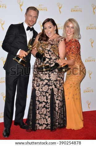 LOS ANGELES, CA - SEPTEMBER 12, 2015: Dancers Julianne Hough & brother Derek Hough & Tessandra Chavez (centre) at the Creative Arts Emmy Awards 2015.