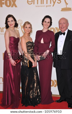 LOS ANGELES, CA - SEPTEMBER 18, 2011: Downton Abbey stars Elizabeth McGovern, Joanne Froggatt & Michelle Dockery & creator Julian Fellowes at the 2011  Emmy Awards at the Nokia Theatre L.A. Live. - stock photo