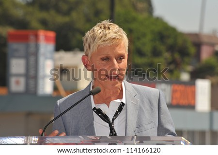 LOS ANGELES, CA - SEPTEMBER 4, 2012: Ellen DeGeneres on Hollywood Blvd where she was honored with the 2,477th star on the Hollywood Walk of Fame. - stock photo