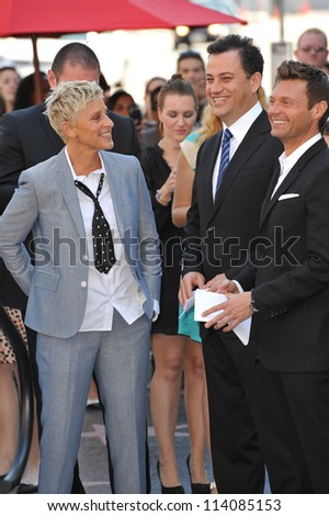 LOS ANGELES, CA - SEPTEMBER 4, 2012: Ellen DeGeneres with Ryan Seacrest & Jimmy Kimmel on Hollywood Blvd where she was honored with the 2,477th star on the Hollywood Walk of Fame.