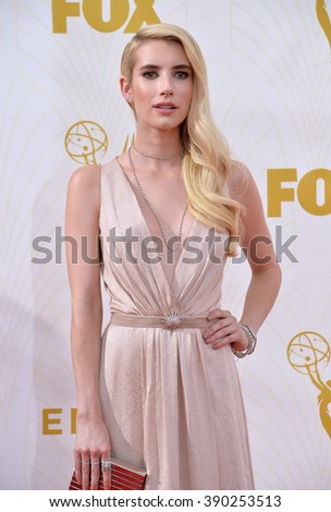 LOS ANGELES, CA - SEPTEMBER 20, 2015: Emma Roberts at the 67th Primetime Emmy Awards at the Microsoft Theatre LA Live.