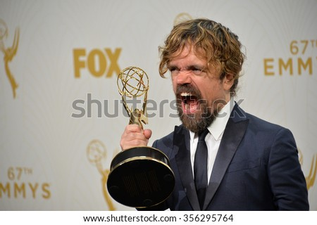 "LOS ANGELES, CA - SEPTEMBER 20, 2015: ""Game of Thrones"" star Peter Dinklage at the 67th Primetime Emmy Awards at the Microsoft Theatre LA Live.  - stock photo"