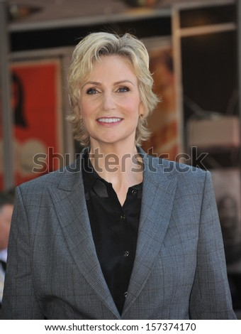 LOS ANGELES, CA - SEPTEMBER 4, 2013: Glee star Jane Lynch on Hollywood Blvd where she was honored with the 2,505th star on the Hollywood Walk of Fame.  - stock photo
