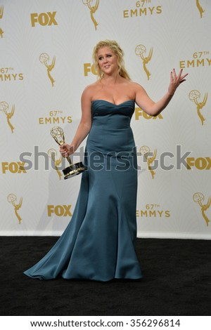 "LOS ANGELES, CA - SEPTEMBER 20, 2015: ""Inside Amy Schumer"" star Amy Schumer at the 67th Primetime Emmy Awards at the Microsoft Theatre LA Live."