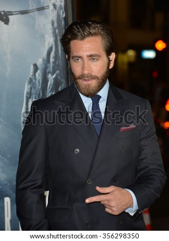 "LOS ANGELES, CA - SEPTEMBER 9, 2015: Jake Gyllenhaal at the American premiere of his movie ""Everest"" at the TCL Chinese Theatre, Hollywood.  - stock photo"