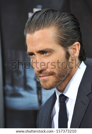 """LOS ANGELES, CA - SEPTEMBER 12, 2013: Jake Gyllenhaal at the premiere of his movie """"Prisoners"""" at the Academy of Motion Picture Arts & Sciences in Beverly Hills.  - stock photo"""