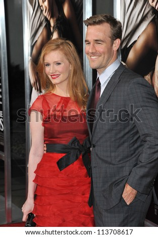 "LOS ANGELES, CA - SEPTEMBER 4, 2012: James Van Der Beek & wife Kimberley at the Los Angeles premiere of ""The Words"" at the Arclight Theatre, Hollywood."