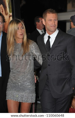 "LOS ANGELES, CA - SEPTEMBER 15, 2009: Jennifer Aniston & Aaron Eckhart at the world premiere of their new movie ""Love Happens"" at the mann Village Theatre, Westwood."