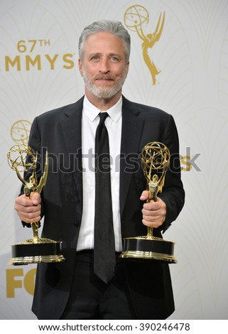 LOS ANGELES, CA - SEPTEMBER 20, 2015: Jon Stewart at the 67th Primetime Emmy Awards at the Microsoft Theatre LA Live.
