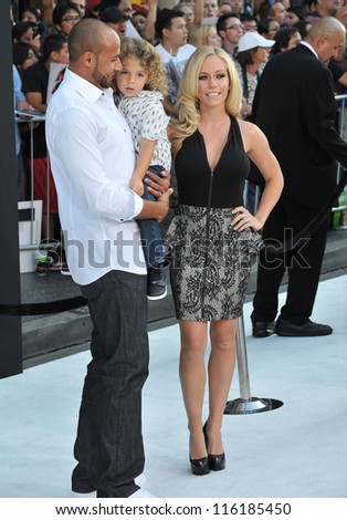 "LOS ANGELES, CA - SEPTEMBER 24, 2012: Kendra Wilkinson & husband Hank Baskett & son at the premiere of ""Frankenweenie"" at the El Capitan Theatre, Hollywood."