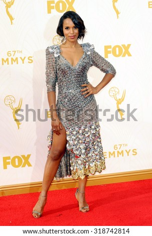 LOS ANGELES, CA - SEPTEMBER 20, 2015: Kerry Washington at the 67th Annual Primetime Emmy Awards held at the Microsoft Theater in Los Angeles, USA on September 20, 2015. - stock photo