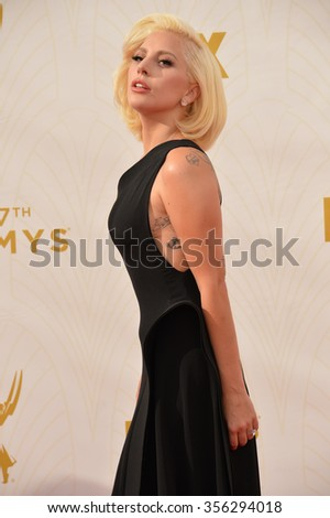 LOS ANGELES, CA - SEPTEMBER 20, 2015: Lady Gaga at the 67th Primetime Emmy Awards at the Microsoft Theatre LA Live.  - stock photo