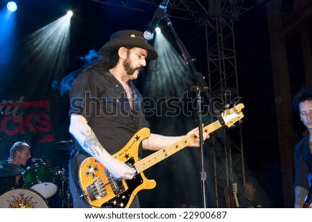 LOS ANGELES, CA - SEPTEMBER 27: Lemmy Kilmister from Motörhead performs with Camp Freddy, live at Paramount Rocks in Los Angeles, California on September 27, 2008. - stock photo