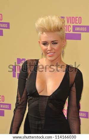 LOS ANGELES, CA - SEPTEMBER 6, 2012: Miley Cyrus at the 2012 MTV Video Music Awards at Staples Center, Los Angeles. - stock photo