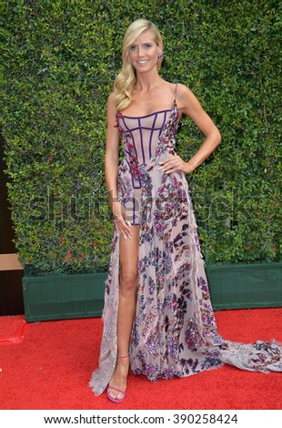 LOS ANGELES, CA - SEPTEMBER 12, 2015: Model/presenter Heidi Klum at the Creative Arts Emmy Awards 2015 at the Microsoft Theatre LA Live. - stock photo