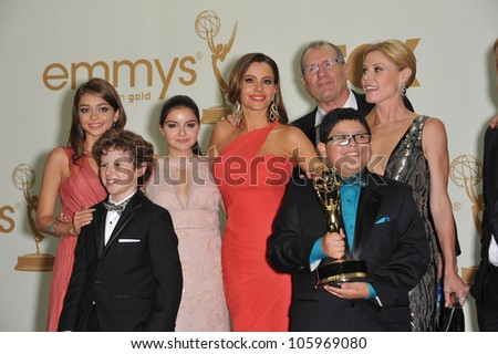 LOS ANGELES, CA - SEPTEMBER 18, 2011: Modern Family stars, including Sofia Vergara, at the 2011 Primetime Emmy Awards at the Nokia Theatre L.A. Live. September 18, 2011  Los Angeles, CA - stock photo