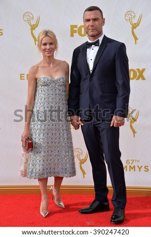 LOS ANGELES, CA - SEPTEMBER 20, 2015: Naomi Watts & Liev Schreiber at the 67th Primetime Emmy Awards at the Microsoft Theatre LA Live. - stock photo
