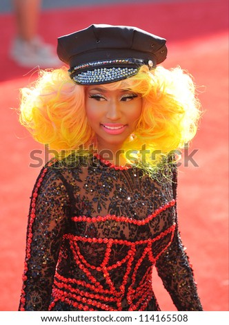 LOS ANGELES, CA - SEPTEMBER 6, 2012: Nicky Minaj at the 2012 MTV Video Music Awards at Staples Center, Los Angeles. - stock photo