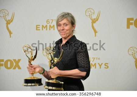 "LOS ANGELES, CA - SEPTEMBER 20, 2015: ""Olive Kittridge"" star Frances McDormand at the 67th Primetime Emmy Awards at the Microsoft Theatre LA Live.  - stock photo"