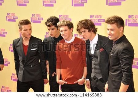 LOS ANGELES, CA - SEPTEMBER 6, 2012: One Direction at the 2012 MTV Video Music Awards at Staples Center, Los Angeles.