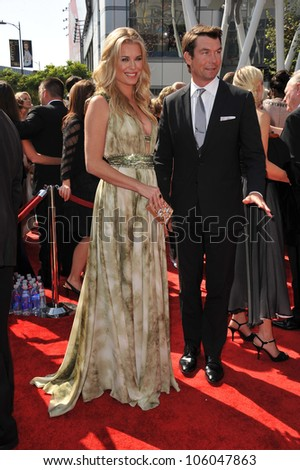 LOS ANGELES, CA - SEPTEMBER 10, 2011: Rebecca Romijn & Jerry O'Connell at the 2011 Primetime Creative Arts Emmy Awards at the Nokia Theatre L.A. Live. September 10, 2011  Los Angeles, CA