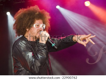 LOS ANGELES, CA - SEPTEMBER 27: Singer Redfoo of LMFAO performs live at Paramount Rocks in Los Angeles, California on September 27, 2008.