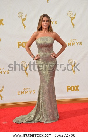 LOS ANGELES, CA - SEPTEMBER 20, 2015: Sofia Vergara at the 67th Primetime Emmy Awards at the Microsoft Theatre LA Live.  - stock photo