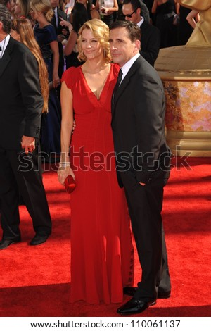 LOS ANGELES, CA - SEPTEMBER 20, 2009: Steve Carrell & wife Nancy at the 61st Primetime Emmy Awards at the Nokia Theatre L.A. Live.