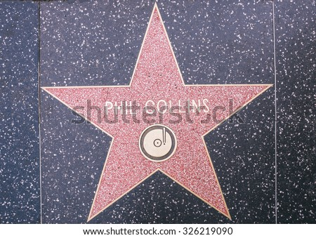 Los angeles,CA. 8th october 2015. Phil Collins star on the walk of fame in Hollywood. Collins  is an English singer, songwriter, multi-instrumentalist, music producer and actor. - stock photo