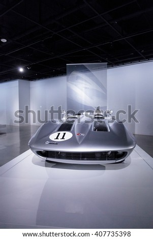 Los Angeles, CA, USA April 16, 2016: A 1959 Chevrolet Corvette XP 87 Stingray Racer from the General Motors Heritage Collection at the Petersen Automotive Museum  - stock photo