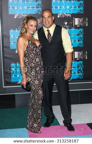 LOS ANGELES, CA/USA - AUGUST 30 2015: Amber Nichole Miller and Tito Ortiz attend the 2015 MTV Video Music Awards at Microsoft Theater.