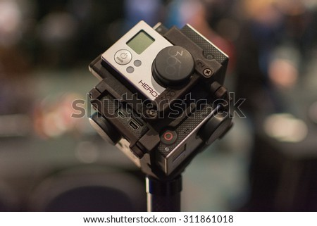 Los Angeles, CA - USA - August 29, 2015: 360-Degree Virtual Reality Camera System during VRLA Expo, virtual reality exposition, event at the Los Angeles Convention Center in Los Angeles. - stock photo