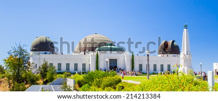 LOS ANGELES, CA/USA - AUGUST 17, 2014. Panoramic view of Griffith Observatory. The Griffith Observatory is an Earth observatory building in the Hollywood Hills of Los Angeles, California.