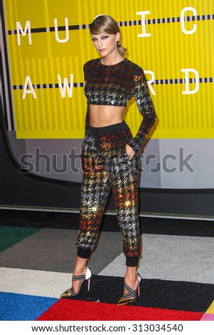 LOS ANGELES, CA/USA - AUGUST 30 2015: Taylor Swift attends the 2015 MTV Video Music Awards at Microsoft Theater. - stock photo