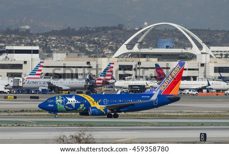 "LOS ANGELES, CA/USA - FEBRUARY 15, 2016: Southwest Airlines Boeing 737-700 (""Battle Born"" Nevada livery) shown shortly after landing at the LAX. Southwest is the world's largest low-cost carrier."