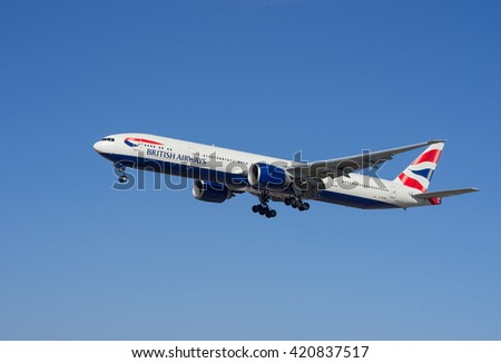 LOS ANGELES, CA/USA - JANUARY 24, 2016: British Airways aircraft (Boeing 777) shown approaching LAX. British Airways (BA) is the flag carrier airline of the United Kingdom.