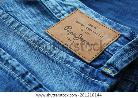 LOS ANGELES, CA, USA - JANUARY 10, 2015. Part of Jeans by Pepe Jeans London, back patch close-up - stock photo