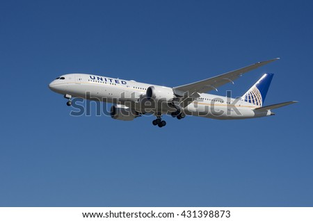LOS ANGELES, CA/USA - JANUARY 24, 2016: United Airlines Dreamliner (787-9) shown approaching the Los Angeles World Airport. United is a major American airline headquartered in Chicago, Illinois.