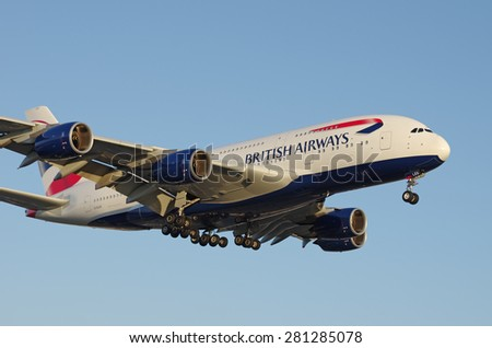 LOS ANGELES, CA, USA - MAY 24 - a British Airways Airbus A380 arriving at the Los Angeles International Airport (LAX) is shown on May 25, 2015 in Los Angeles, California, USA - stock photo