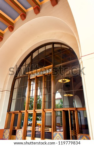 LOS ANGELES, CA./USA -  MAY 28: Renowned Los Angeles Union Station is the main railroad station in Los Angeles,  It is on the National Register of Historic Places.  Los Angeles, CA. MAY 28,2010. - stock photo