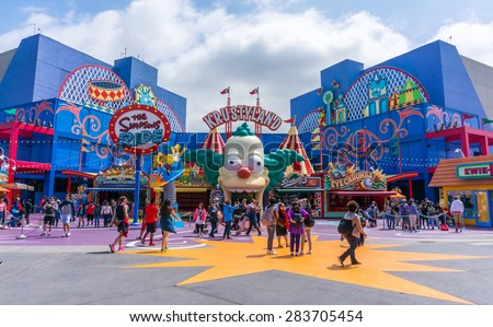 LOS ANGELES, CA/USA - MAY 24: The Simpsons Ride at Universal studios hollywood on May 24, 2015 in Los Angeles, CA, USA. It is a theme park and film studio in Los Angeles. - stock photo