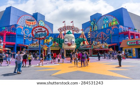 LOS ANGELES, CA/USA - MAY 24: The Simpsons Ride at Universal studios hollywood on May 24, 2015 in Los Angeles, CA, USA. It is a theme park and film studio in Los Angeles.